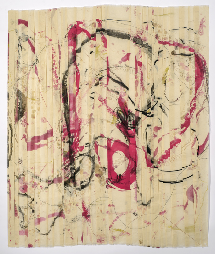 FOLDED web- August 17, 2014, Pimented Beeswax, silk thread on kitakata, 38x32