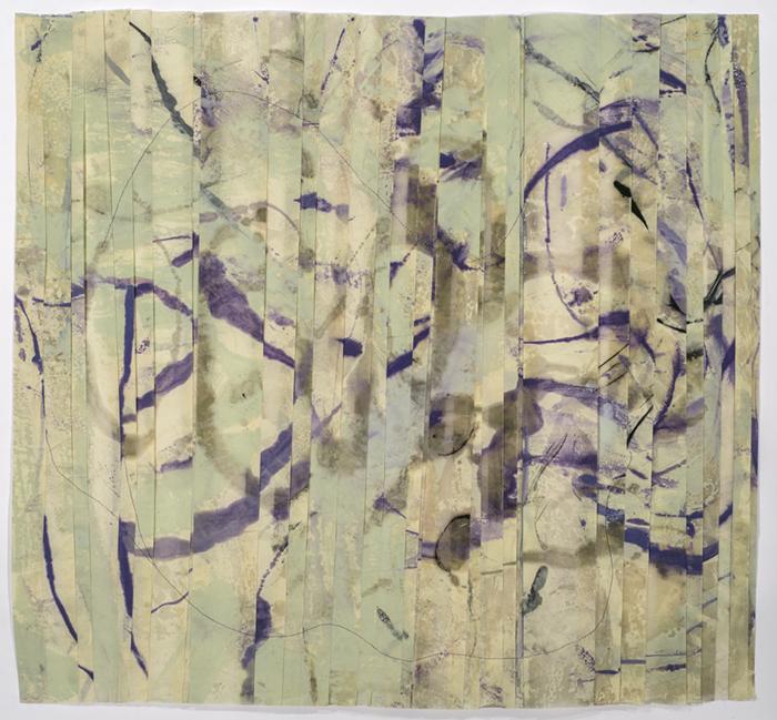 FOLDED web- August 24, 2014, Pigmentd Beeswax, silk thread on kitakata, 33x35