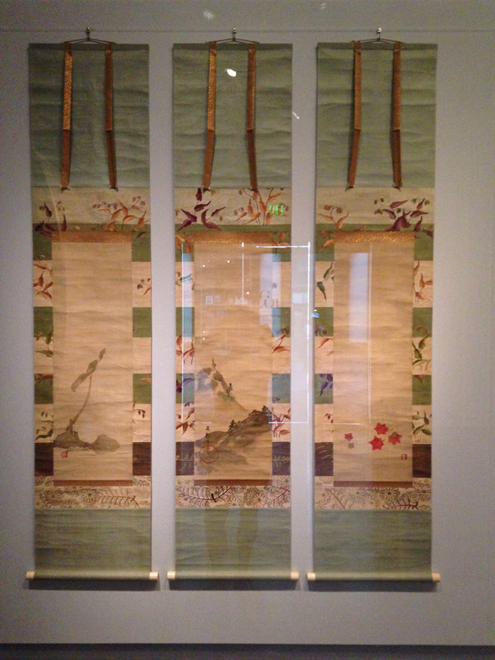 Lotus, deer, and maple leaves, 1800-50, School of Sakai Hoitsu, set of 3 hanging scrolls, ink and colors on silk