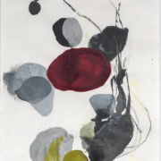 Tracey Adams - 0116.19(burgundy, gray, black and green), encaustic and ink on Shikoku, 19x12.5, 2019