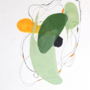 Tracey Adams - 0118.1(green), encaustic and ink on Shikoku, 19 x 12.5, 2018
