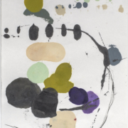 Tracey Adams - 0126.21(purple, green and gray), encaustic and ink on Shikoku, 19x12.5, 2019