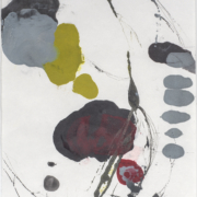 Tracey Adams - 0127.18(burgundy, green and gray), encaustic and ink on Shikoku, 19x12.5, 2019