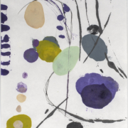 Tracey Adams - 0127.20(purple, green and gray),  encaustic and ink on Shikoku, 19x12.5, 2019