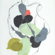Tracey Adams - 0218.10(gray, green and orange), encaustic and ink on Shikoku, 19x12.5, 2018
