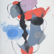 Tracey Adams - 0218.11(blue, black and orange), encaustic and ink on Shikoku, 19x12.5, 2018