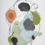 Tracey Adams - 0218.12 (blue, green, gray and orange), encaustic and ink on Shikoku, 19 x 12.5, 2018