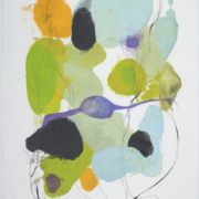 Tracey Adams - 0218.13(gold, blue and green), encaustic and ink on Shikoku, 19 x 12.5, 2018