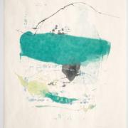 Tracey Adams - Sattva 34, Encaustic and ink on Okawara, 30×22, 2020