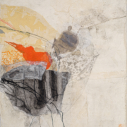 Tracey Adams - On Again, Off Again web, Collage, charcoal, ink and encaustic on canvas, 14×11, 2020