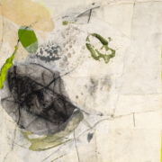 Tracey Adams - Welcoming the Unwelcome - Collage, charcoal, encaustic and ink on panel, 14×11, 2020
