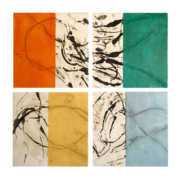 Tracey Adams - When the Soul Lies Down in that Grass, encaustic on 4 panels 36 x36, 2020