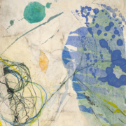 Tracey Adams - Tangle 1, Collage, Encaustic, ink, charcoal on panel, 14×11, 2021