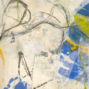 Tracey Adams - Tangle 2, Collage, Encaustic, ink, charcoal on panel, 14×11, 2021