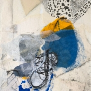 Tracey Adams - 08.08.21, collage, encaustic, ink on illustration board, 13x10_2021