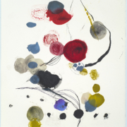 Tracey Adams - Blom 3 web, encaustic and ink on Rives, 19×13, 2021