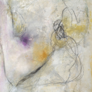 Tracey Adams - Tangle 5, collage, powdered pigment, ink, charcoal and acrylic on Arches Cover, 18×15, 2021