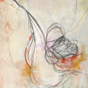 Tracey Adams - Tangle 6, collage, powdered pigment, ink, charcoal and acrylic on Arches Cover, 18×14