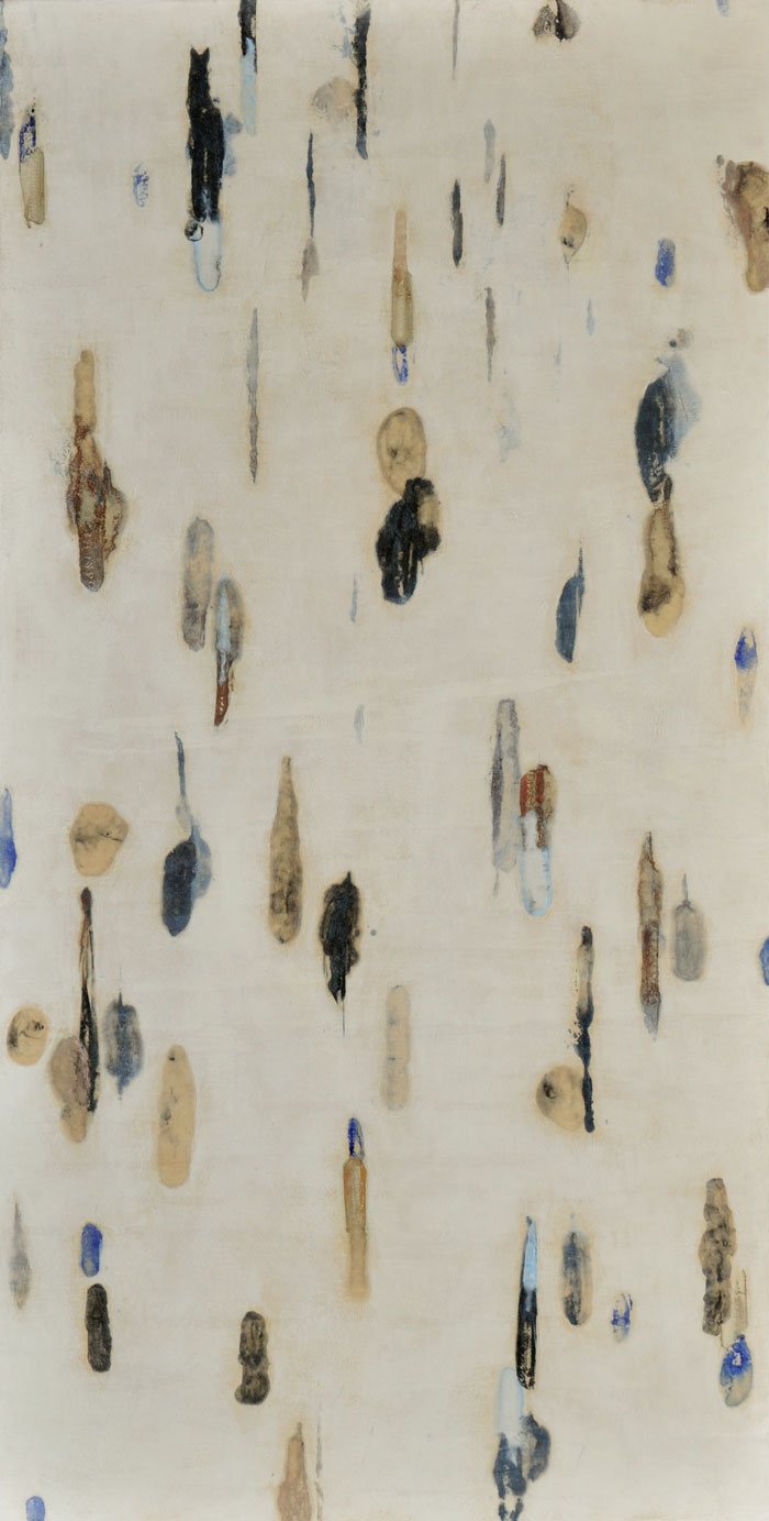 Lumenis 13, encaustic monotype and acrylic galzes on panel, 43x22