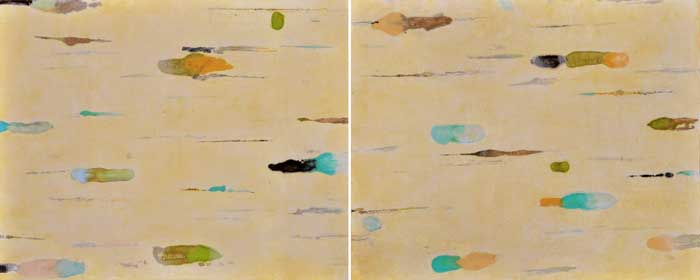 Lumenis 18, encaustic monotype and acrylic glazes on panel, 16x40