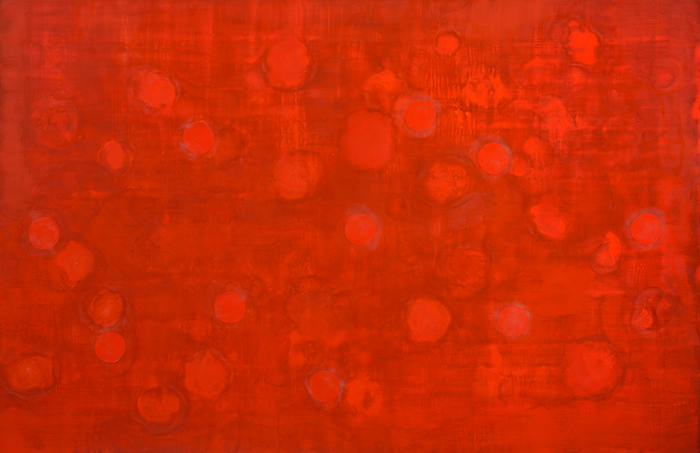 (r)evolution 7 web, encaustic on panel, 30x46